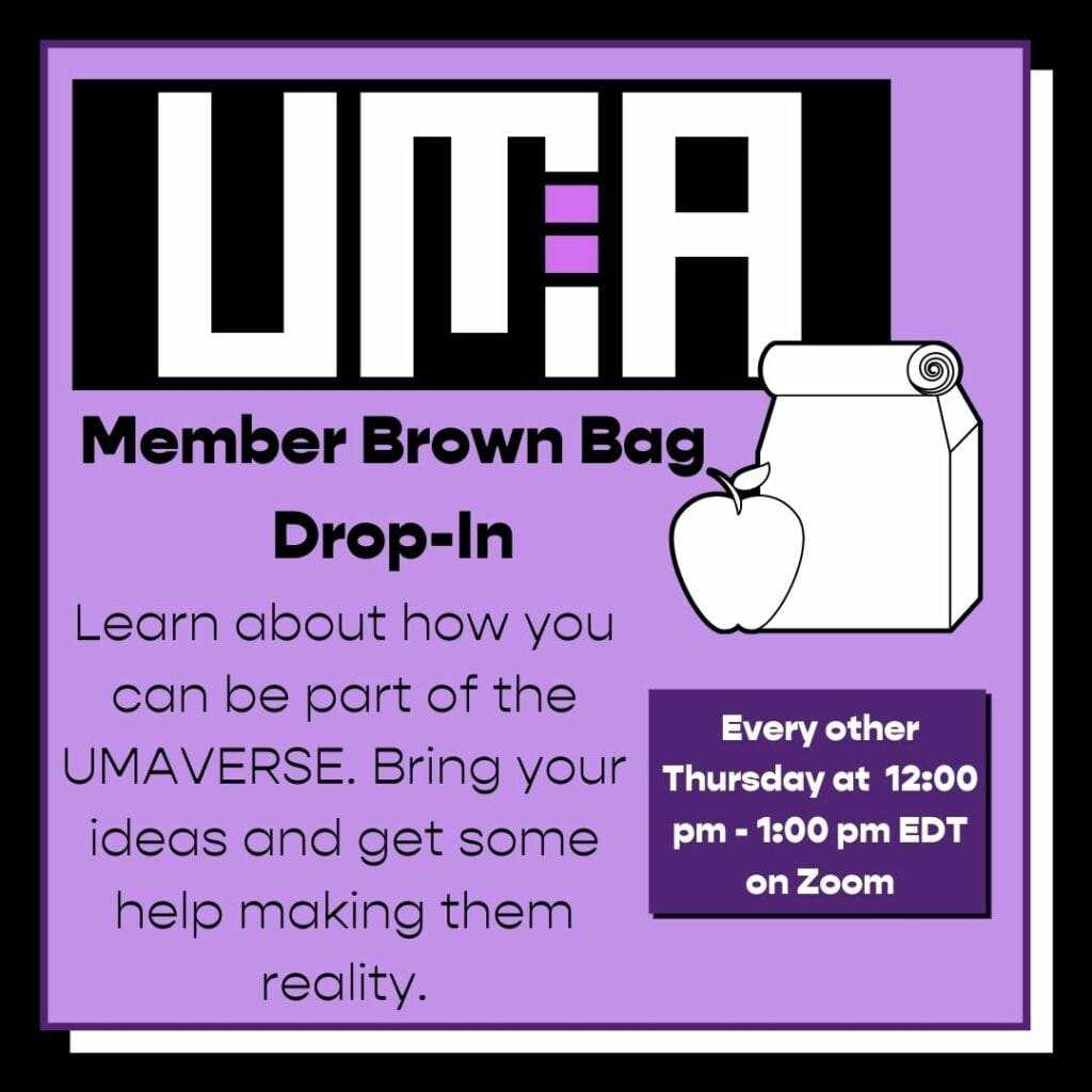 Image with brown bag and apple. Graphic for member dropin