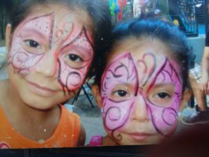 two faces painted