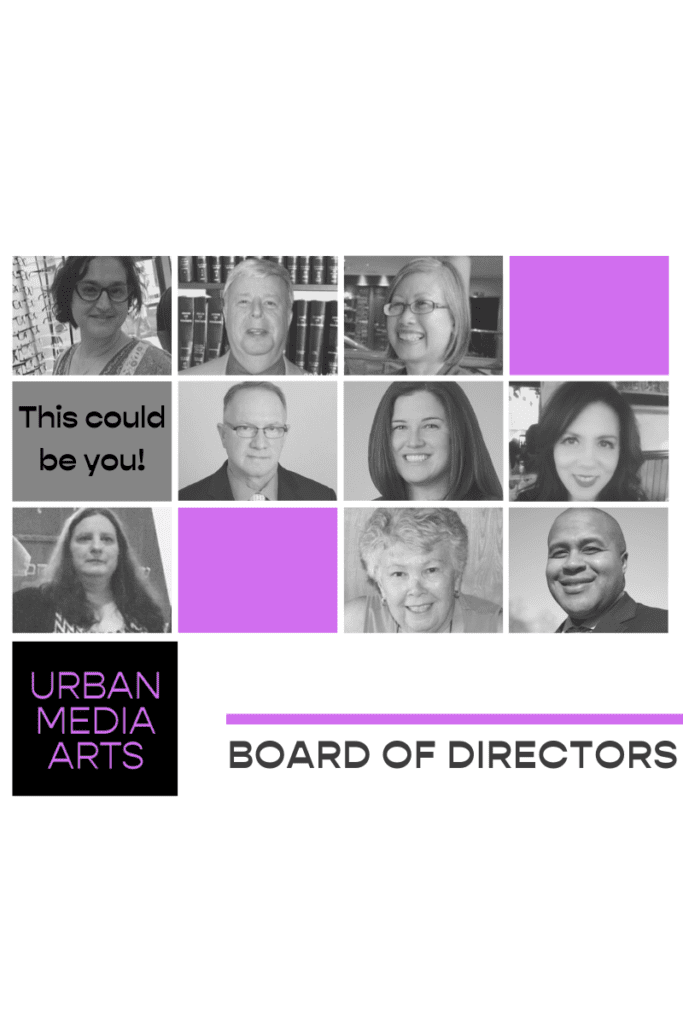 """Grid images of UMA board members, with a grey filter. Several light purple boxes surround the pictures. One grey box with text that says """"This could be you!"""" At the bottom, there is UMA's logo and the words Board of Directors."""