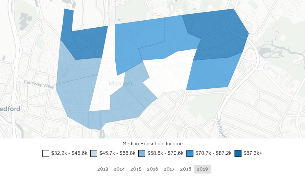 Income by location in Malden